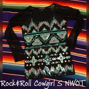 NWOT Rock & Roll Cowgirl Bling Aztec lace shirt S
